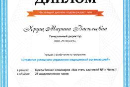 Диплом «Как стать клиникой №1» Хрущ Марина Васильевна Подолог